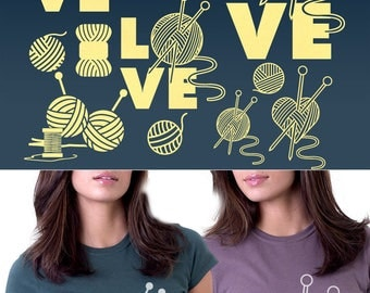 Love Knitting Vector Digital Cut Files Svg Dxf Eps Png Silhouette SCAL Cricut Motivational Download for DIY Paper Vinyl Die Cutting JB-533