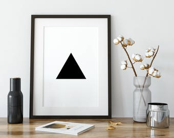 Triangle Print, Minimalist Wall Art, Modern Geometric Art Illustration, Minimalist Art Print, Printables, Black and White Triangle Wall Art