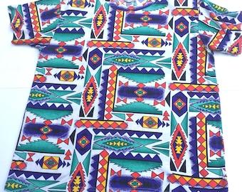 Vintage 90s Ashly Brent Women's Tribal T-shirt. Plus size