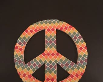 Mosaic Peace Sign Wall Decoration