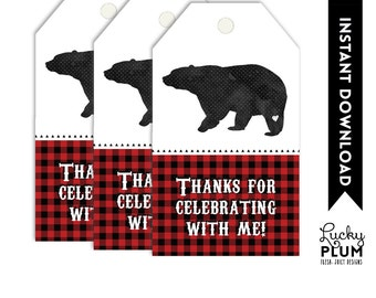 Bear Favor Tags / Camping Favor Tags / WoodlandFavor Tags / Plaid Favor Tags / Lumberjack Favor Tags / DIY Printables