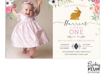 Rabbit Birthday Invitation / Bunny Birthday Invitation /  Woodland Birthday Invite / First Birthday Invite / Pink Birthday Invite /  Digital