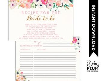 Floral Recipe Card / Flower Recipe Card / Modern Recipe Card / Woodland Recipe Card / Recipe Card / Instant Download