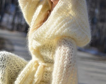 READY handmade summer shrug hand knitted mohair shrug soft knitted cardigan fuzzy hooded cape summer sweater slouchy loose knit Dukyana