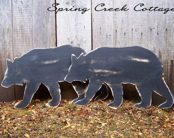 Large Bear Silhouette, Handpainted Sign, Handmade, Lakehouse Decor, Lodge, Bear, Rustic, Sign, Home Decor, Lumberjack Nursery, Baby Boy