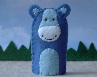 Blue Hippo Finger Puppet - Hippopotamus Puppet - Felt Finger Puppet Hippo