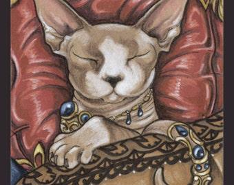Hairless Cat Art Print Sphynx Art Devon Rex Hairless Pet Animal Art Fantasy Art Nouveau Cute Kitten Drawing Illustration Gift for Her