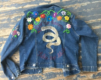 Serpent Hand Embroidered Jean Jacket Denim Tattoo Embroidery