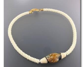 Caramel Swirl lampwork focal bead kumihimo necklace