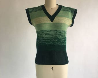 1970s Gradient Green Striped Sweater Vest