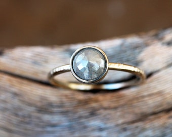 Rose Cut Diamond Ring, Unique Engagement Ring, Natural Color Grey Diamond, Palladium White Gold Engagement Band, Ecofriendly Conflict Free