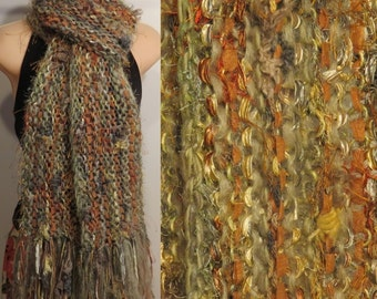 Hand Knit Gypsy Scarf Green Brown Gray boho