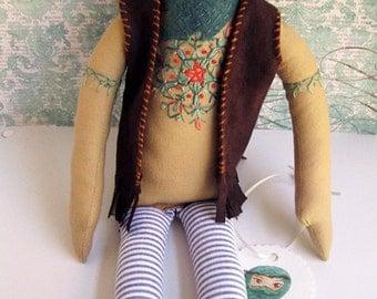 ON SALE! Embroidered bearded hippie man bohemian cloth doll Gordon OOAK