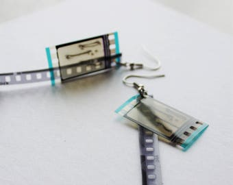 35mm film  earrings – anatomical bones drawing - frame & track, emo, goth, geek, Human Anatomy, anatomical Drawing