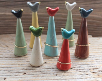 Custom Handmade Bird Pottery Ring Cones - Ship in One to Two Weeks - Mother's Day