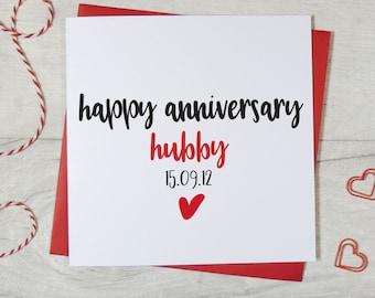personalised husband wedding anniversary card, hubby card, anniversary card