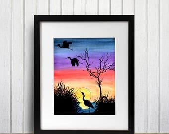 Pacific NW Sunset - Original Watercolor - Art Print