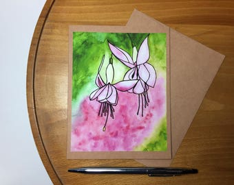 Fuschia Flowers Original Watercolor Print - Note Card