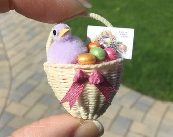 Wall Pocket Wicker Easter Basket - with Fluffy Purple Chic Pearlized Eggs and Vintage Easter Greeting Card by IGMA Artisan Diane Paone