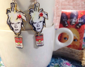 Andy Warhol Earrings Pop Art Soup Can Pittsburgh