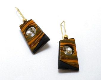 polymer dangle 14 karat gold wire 18K bead white AAA pearl earrings faux wood geometric shaped modern light weight
