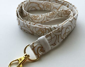 Gold lanyard with ID holder - cute lanyard - fashion lanyard - unique floral lanyard - teachers lanyard - gold lanyard - floral lanyard