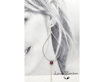 Super Long Earrings Sterling Silver Teardrop with Ruby and Chain