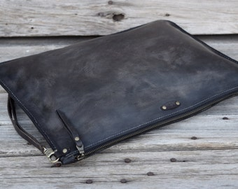 Zipper Portfolio  / Large Leather Pouch / Mens Zipper Bag / Leather Clutch / Large Zipper Clutch / Feral Empire