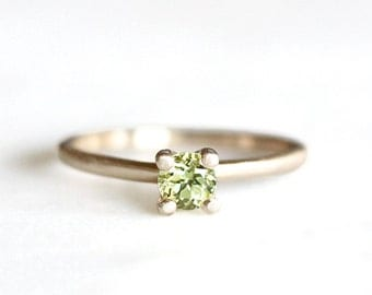 14k gold peridot ring, 4mm, stacking ring, handmade, eco friendly gold, alternative engagement ring, recycled wedding ring