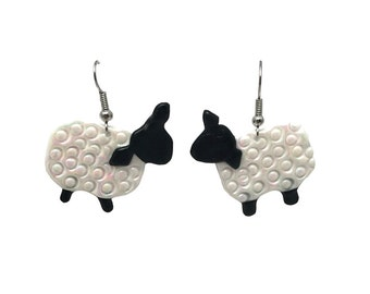Lamb earrings, sheep earrings, hypoallergenic earrings, lamb jewelry