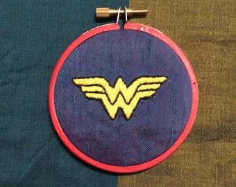 Wonder Woman - Personal Power Symbol - Feminist Art - Embroidered Hoop Art