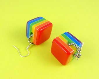 Rainbow Cube Earrings - chunky stripy beads, multi colored squares, LGBT LGBTQ jewelry, gay pride earrings, retro 80s 70s, Harajuku Decora