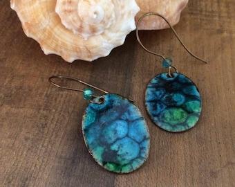 Artisan Copper Enamel Earrings, Organic Colorful Blue and Green Torch Fired Enamel Earrings, Turtle,  Free Spirited, Artisan Made