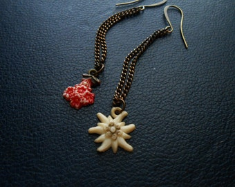 apothecary - celluloid flower charms on copper chain - vintage repurposed jewelry