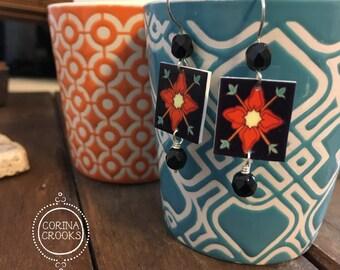 Malibu Pottery earrings, Tile design circa 1920, black earrings, Mission style,  cottage chic, California