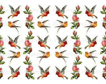 Bird Water-Slide Decals, Decorate Flame-less Candles, Soap, Glass, Home Decor, Furniture, Magnets, Jewelry, Craft Projects