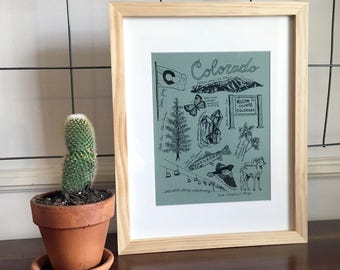 COLORADO STATE SYMBOLS - archival print made from original illustration on green paper