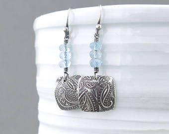 Aquamarine Earrings Light Blue Earrings Sterling Silver Handmade Earrings Small Silver Earrings Birthstone Jewelry Handmade Jewelry - Tracey