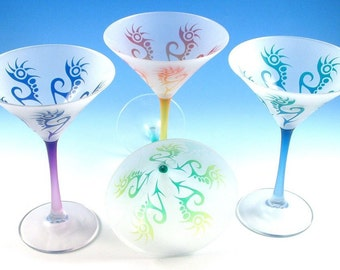 Martini Glasses - Spiked Arrows - Frosted Style - Set of 4 - Etched and Painted Glassware - Custom Made to Order