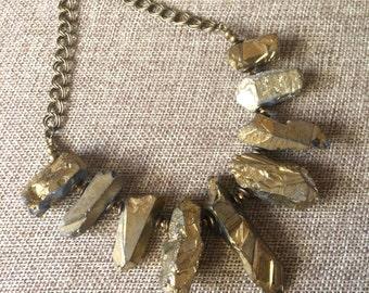 Gold Titanium Crystal Quartz  Bib Necklace - Bohemian Statement Jewelry