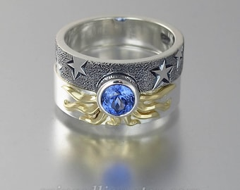 SOLAR ECLIPSE Sun and Moon Engagement set with lab Blue Sapphire in sterling silver and 18k gold