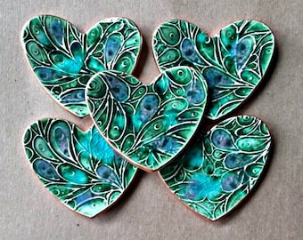 FIVE  Ceramic Heart ring bowls Bridesmaid shower Baby shower itty bittys Peacock Green edged in gold