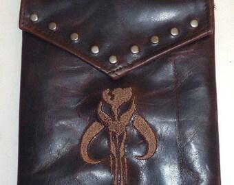 Darkwear Mandalorian Bounty Hunter Boba Fett Star Wars Leather Hip Pouch- Belt Pouch- Mapcase Bag