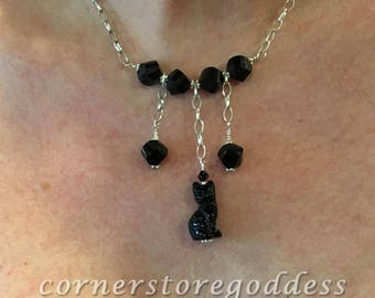 Lucky Black Kitty Cat Necklace by Cornerstoregoddess EHAG