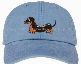 Embroidered Black & Tan Dachshund Ball Cap