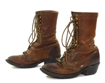 Vintage Lace Up Packer Boots / Double H Roper Work Boots / Brown Leather Logger Boots / Tall Lace Up Ankle Booties / Women's Size 7