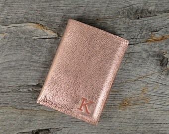 Rose Gold Leather Passport Holder with 3 Card Slots and Personalized Initial - Custom Travel Gift for Bridesmaids
