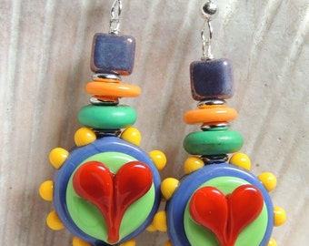 FUNKY HEARTS 1 Handmade Lampwork Dangle Earrings