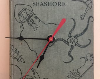 Animals of the Seashore Vintage Upcycled Book Clock
