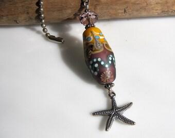 Starfish Fan Pull Chain- Lampwork beaded fan pull- Beach house decor